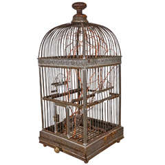 19th Century French Iron and Enamel Bird Cage