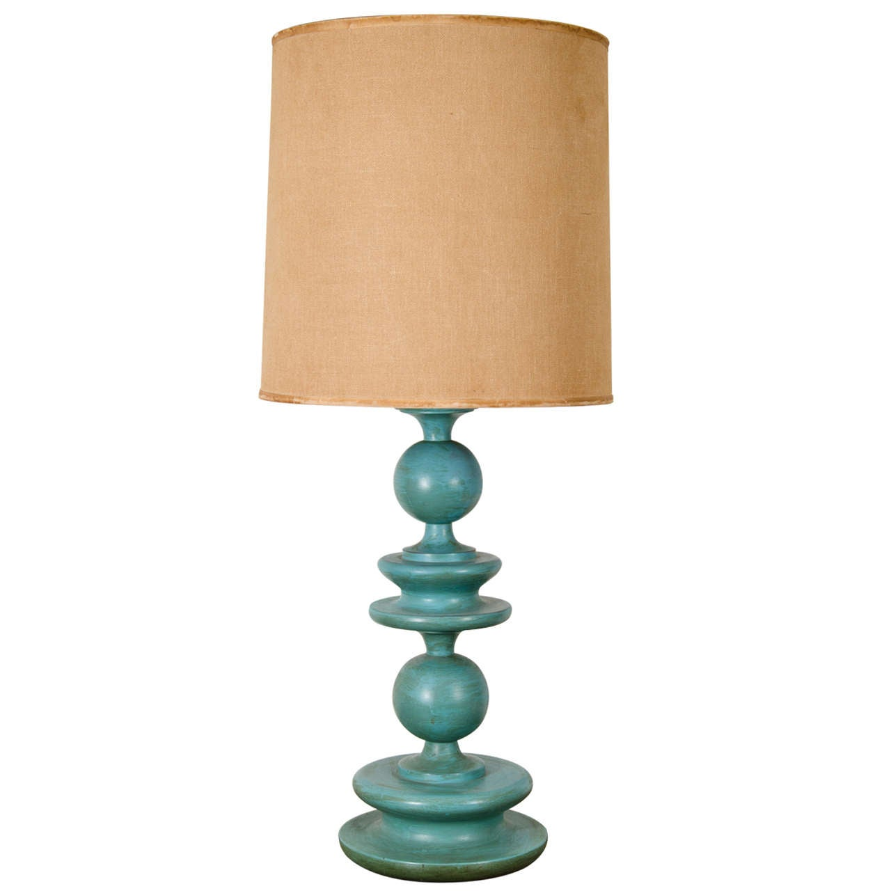 1950 39 S Wooden Lamp With Original Turquoise Paint At 1stdibs