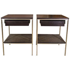 Signature Ebonized Bedside Tables with Satin Nickel Frames and Caned Shelves