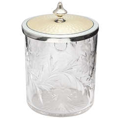 Tiffany Sterling Silver, Pale yellow Guilloche Enamel and Crystal Condiments Jar