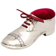 Edwardian Large Sterling Silver Shoe-Form Pin Cushion