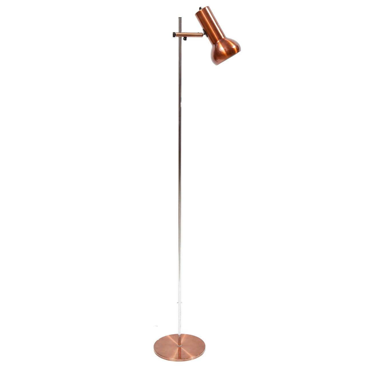 danish copper floor lamp at 1stdibs. Black Bedroom Furniture Sets. Home Design Ideas