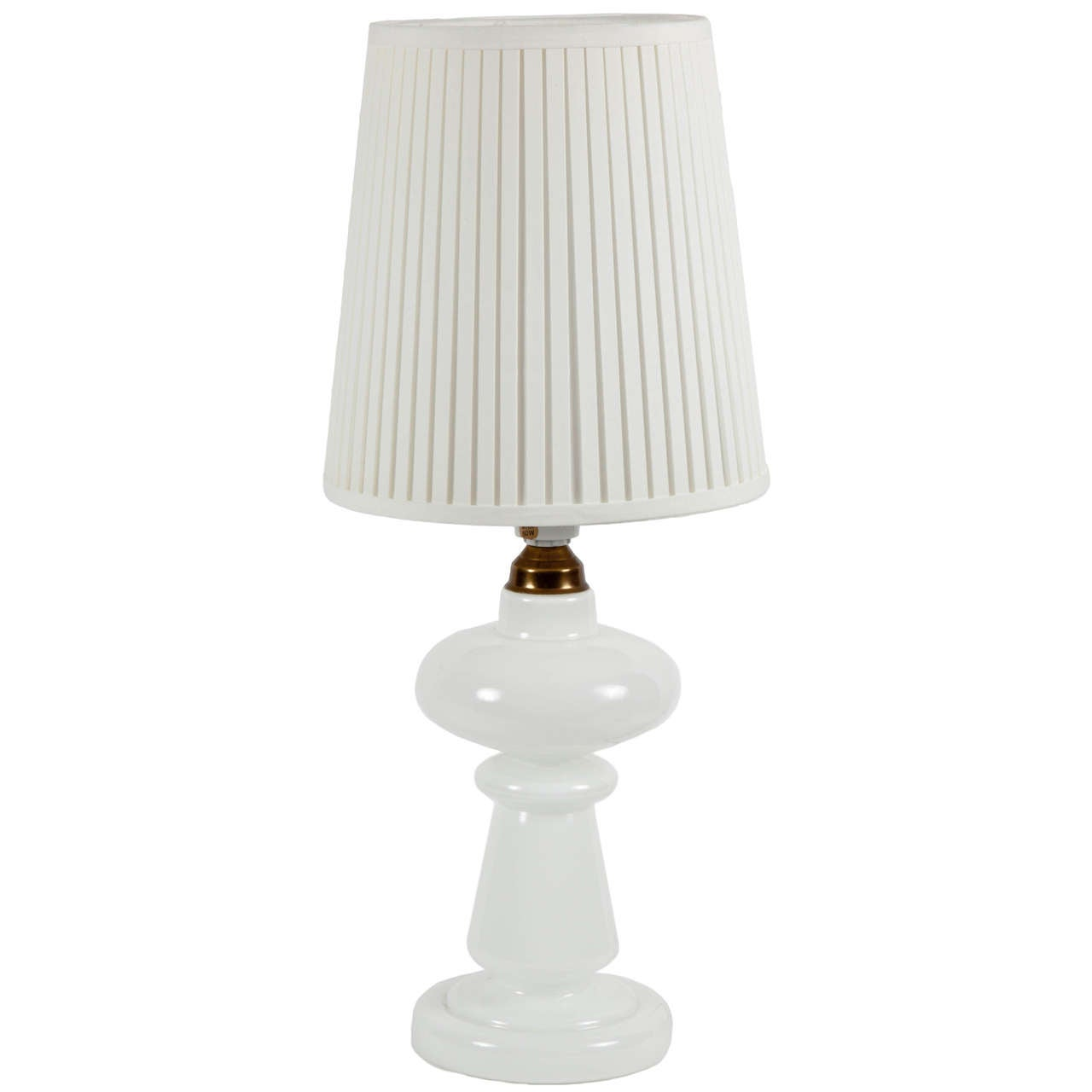 Vintage 1960s Glass White Table Lamp For Sale At 1stdibs
