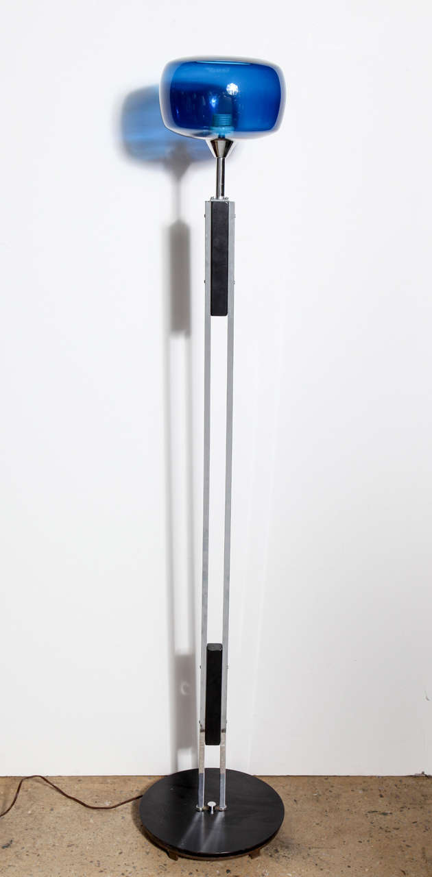 Danish Modern Nickel and Black Enamel Floor Lamp with Cobalt Blue ...