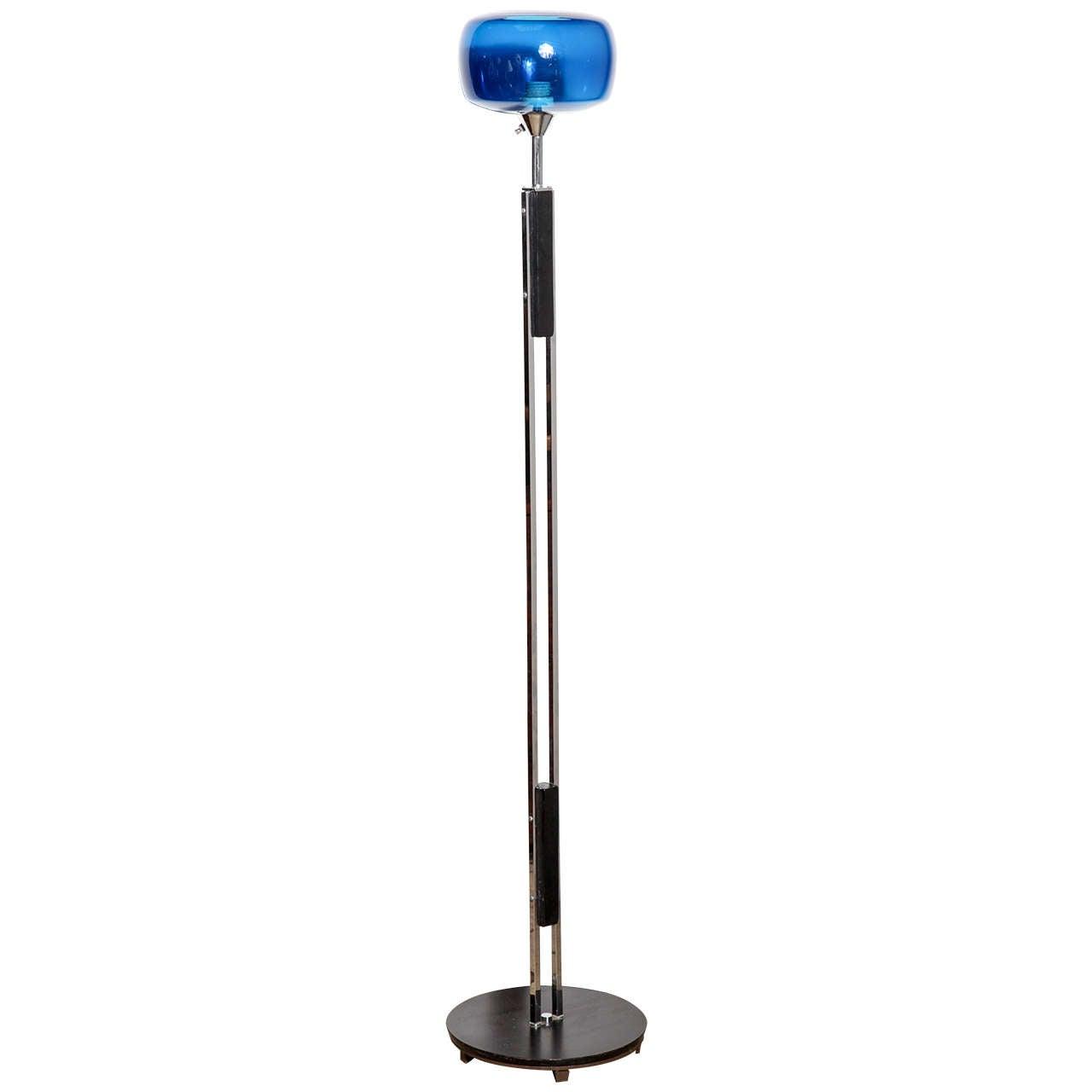 danish modern nickel floor lamp with cobalt blue glass shade for sale. Black Bedroom Furniture Sets. Home Design Ideas
