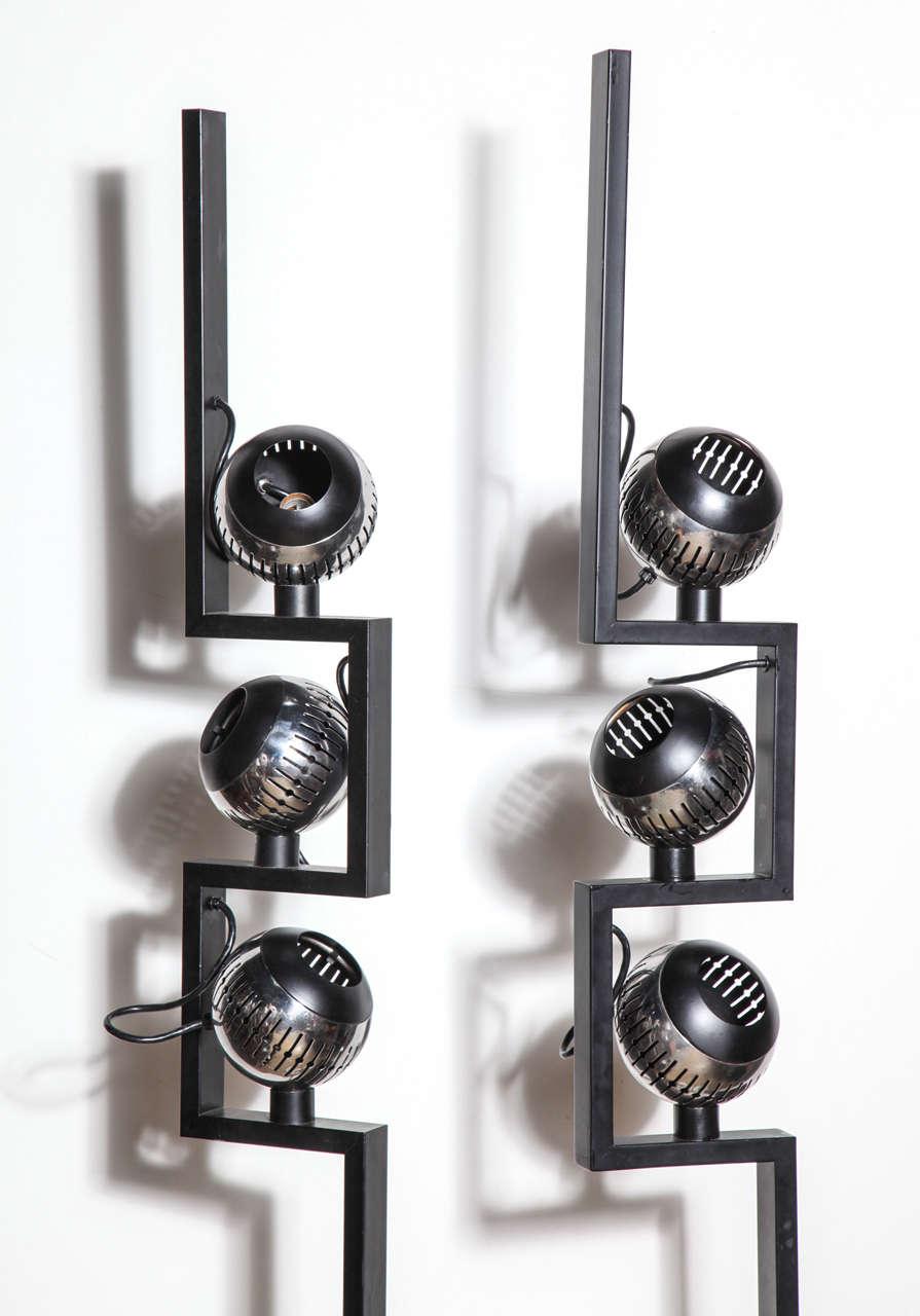 Mid-Century Modern Pair of Angelo Lelli for Arredoluce Adjustable Chrome Eyeball Floor Lamps For Sale