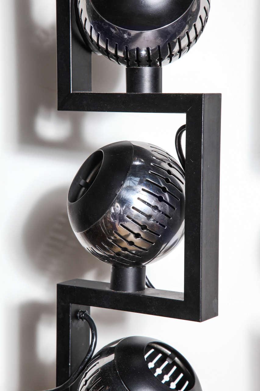 Pair of Angelo Lelli for Arredoluce Adjustable Chrome Eyeball Floor Lamps In Good Condition For Sale In Bainbridge, NY