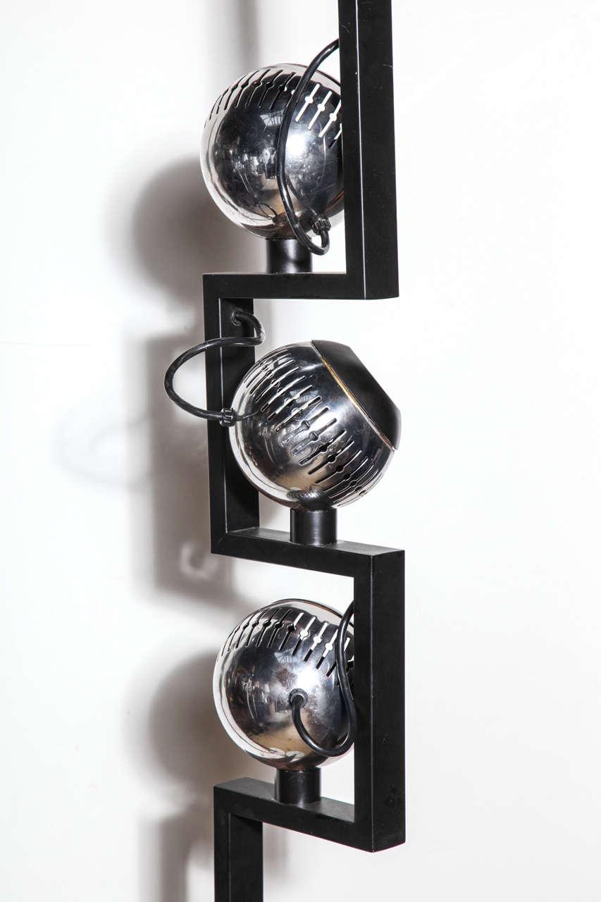 Pair of Angelo Lelli for Arredoluce Adjustable Chrome Eyeball Floor Lamps For Sale 3