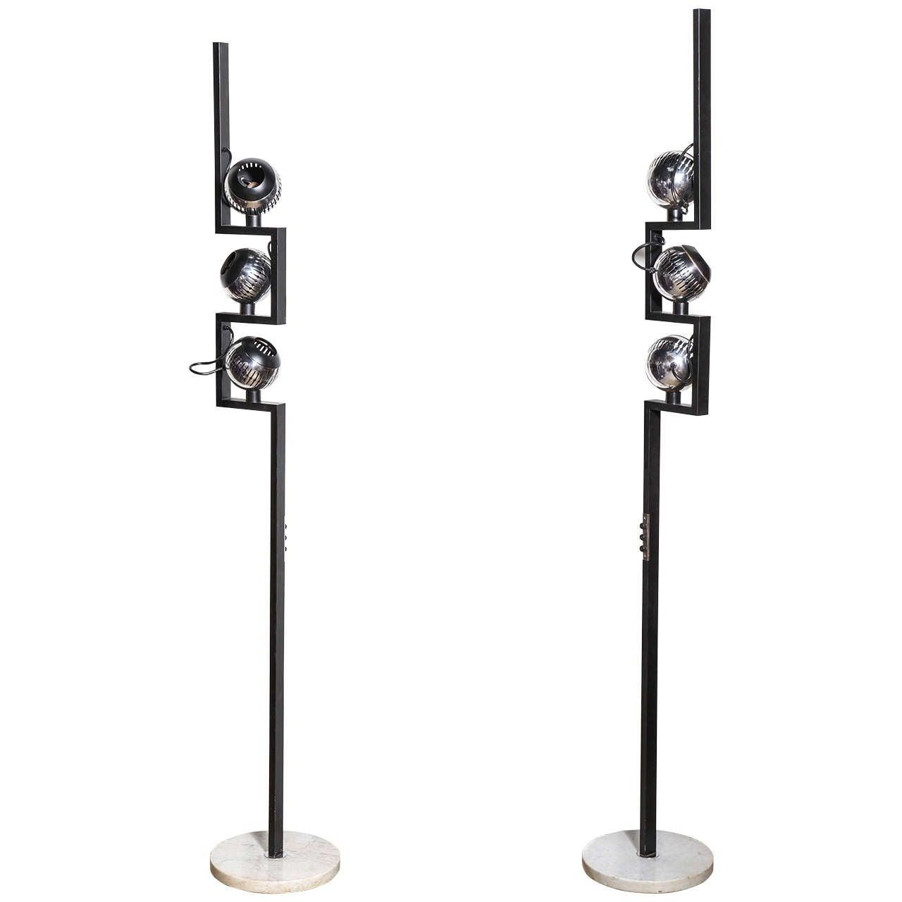 Pair of Angelo Lelli for Arredoluce Black with Marble Chrome Eyeball Floor Lamps
