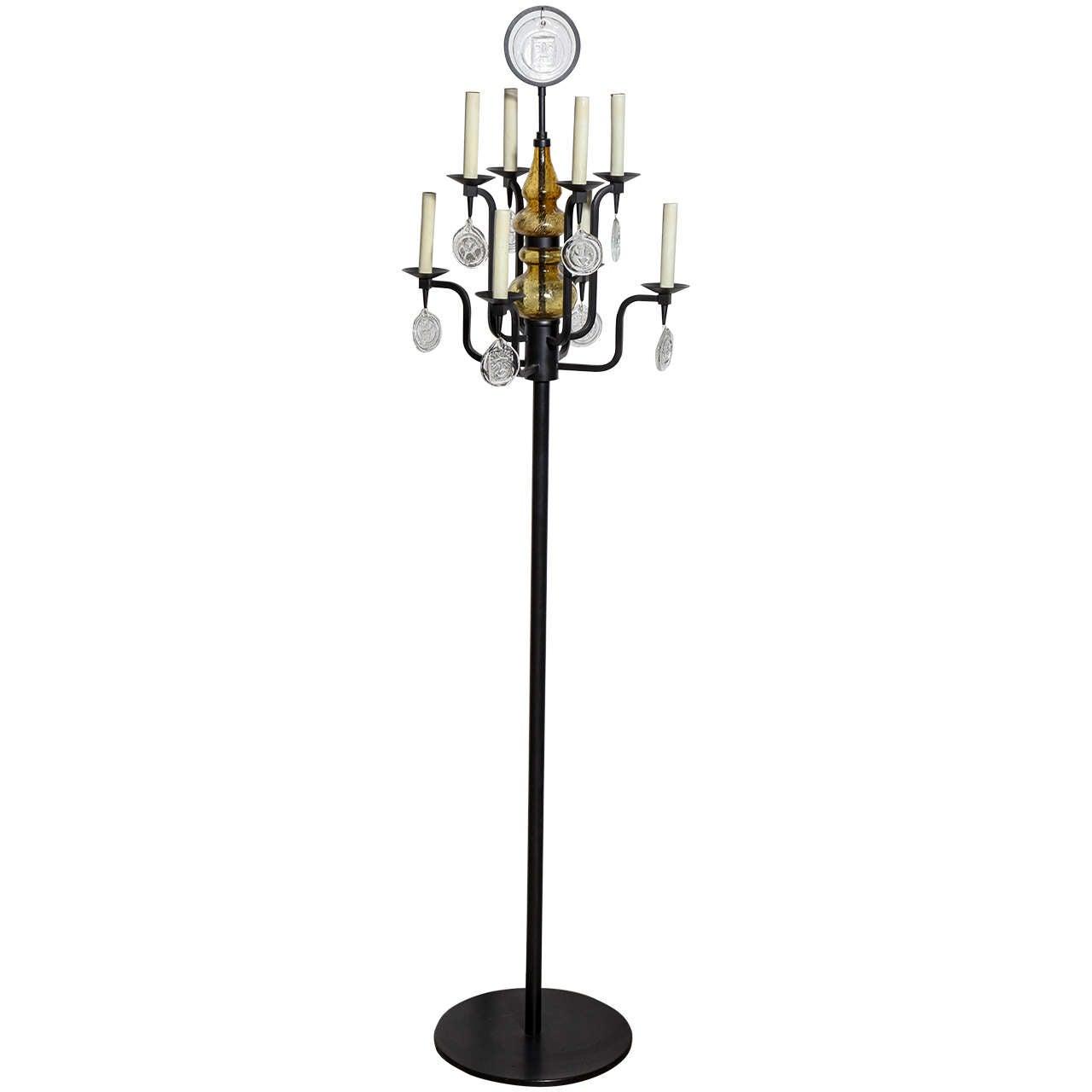 Erik Hoglund For Boda Nova Black Iron And Gl Eight Arm Candelabra Floor Lamp