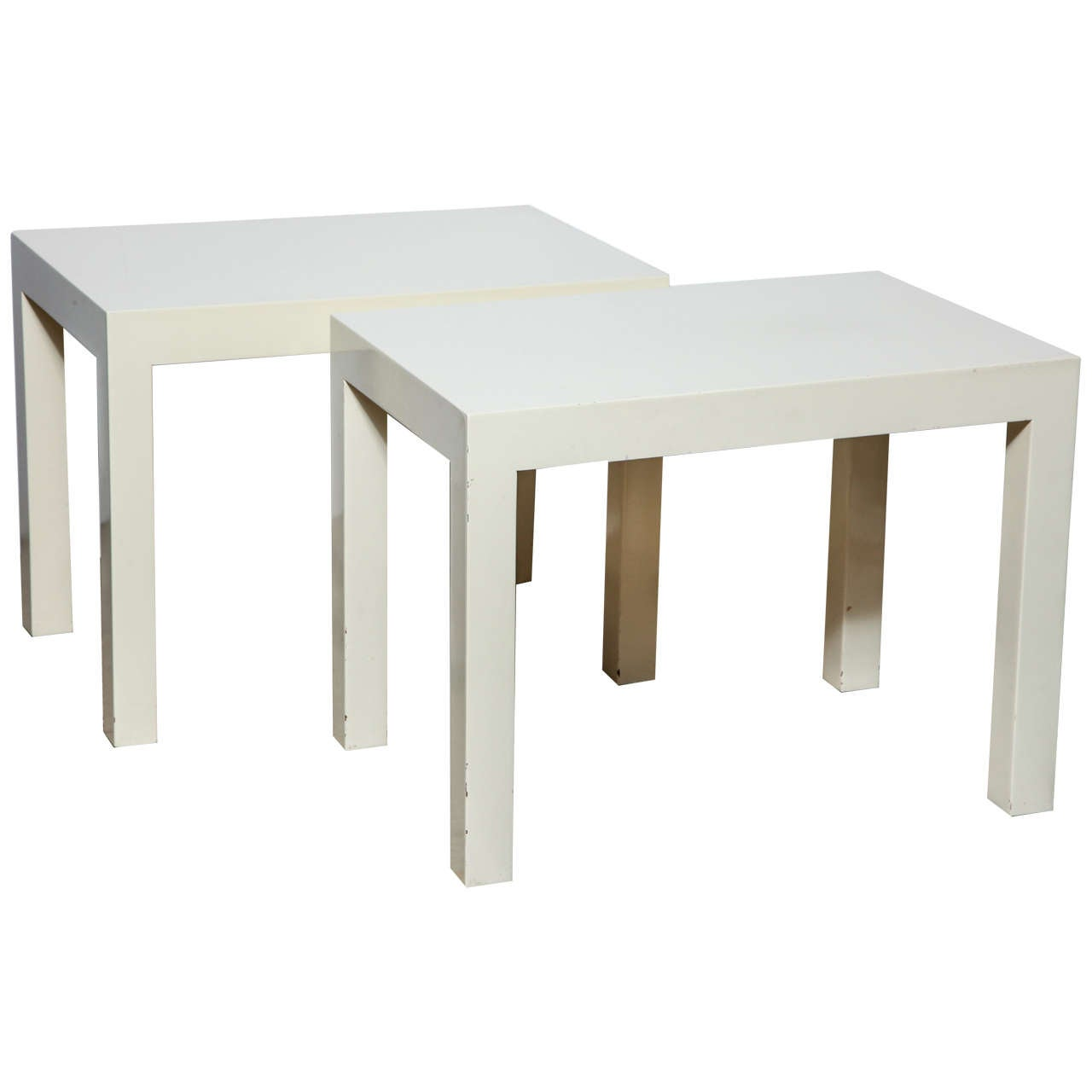 Pair Of Modern 1970u0027s Off White Rectangular Parsons Tables By Intrex 1