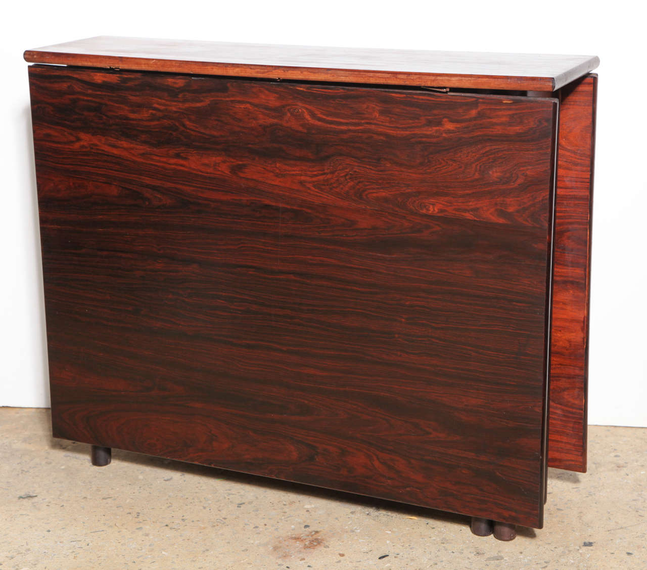 Mid Century Modern Compact Folding Danish Rosewood Drop Leaf Dining Table For