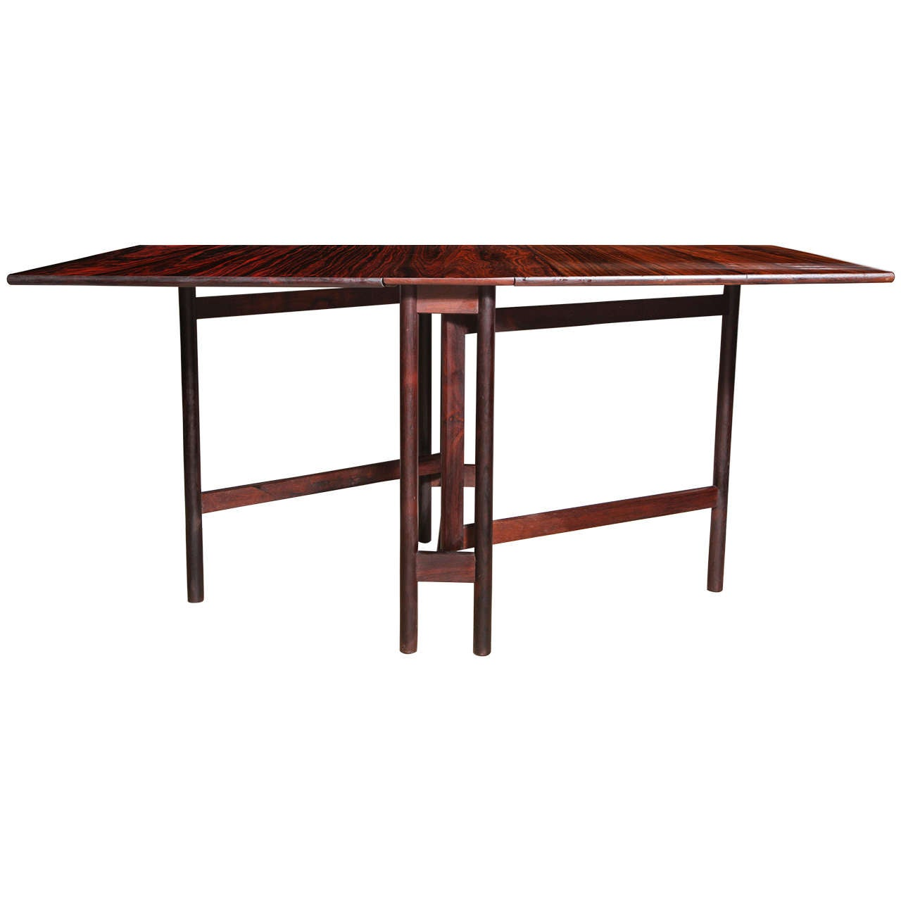 Compact, Folding Danish Rosewood Drop Leaf Dining Table 1