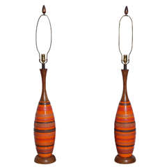Substantial Pair of Raymor Orange Banded Ceramic and Walnut Lamps, 1950s