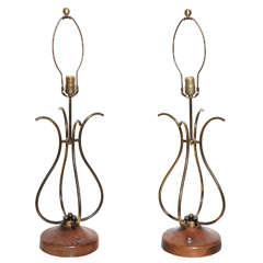 Pair of 1950s Lyrical French Style Brass, Walnut and Lucite Table Lamps