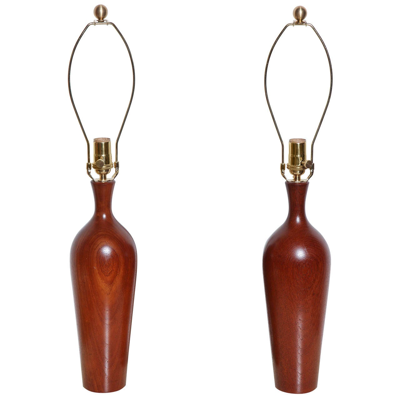 Pair of ESA Denmark Turned Solid Teak Table Lamps, 1950s