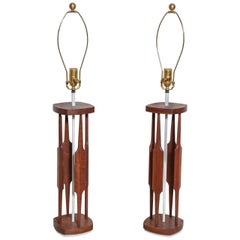 "Tall Pair Tony Paul for Westwood Walnut & White ""Catkin"" Table Lamps, 1950s"