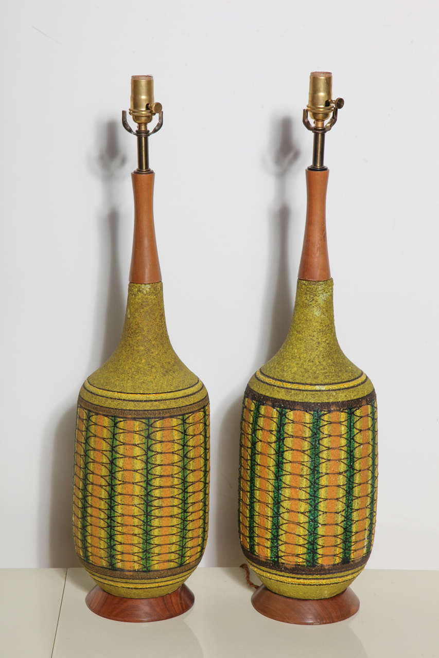 monumental pair aldo londi for bitossi patterned olive green ceramic table lamps 2