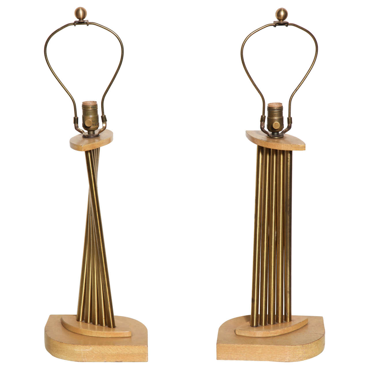 Pair of 1950s Russel Wright Lyrical Bleached Oak and Brass Accordion Table Lamps