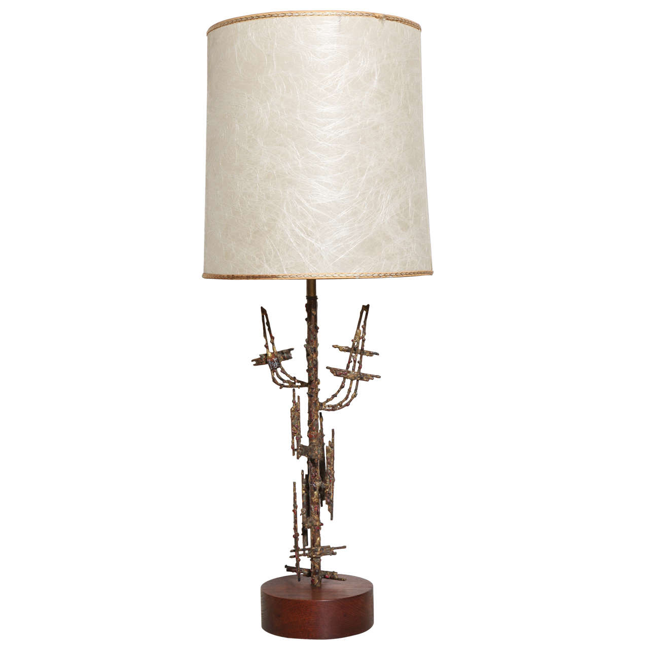 Marcello Fantoni for Raymor Abstract Bronzed Brutalist Table Lamp, circa 1960