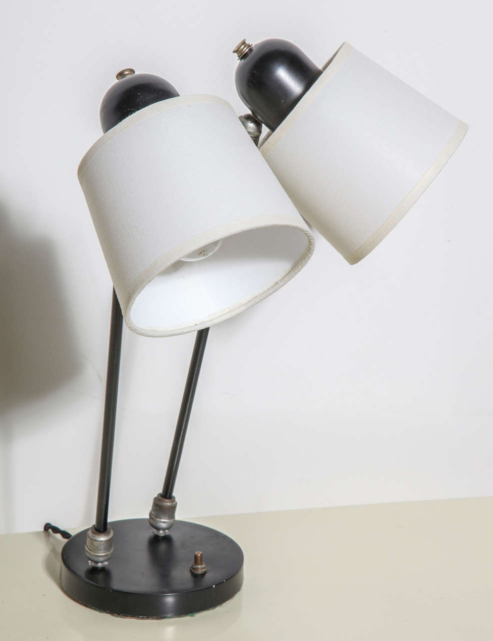 1940 S David Wurster Articulating Two Head Black Desk Lamp
