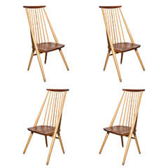 1970s Set of Four American Craft Revival Beech & Cherry Mademoiselle Side Chairs