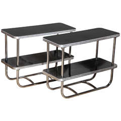 pair of narrow Art Deco Royal Chrome Side Tables