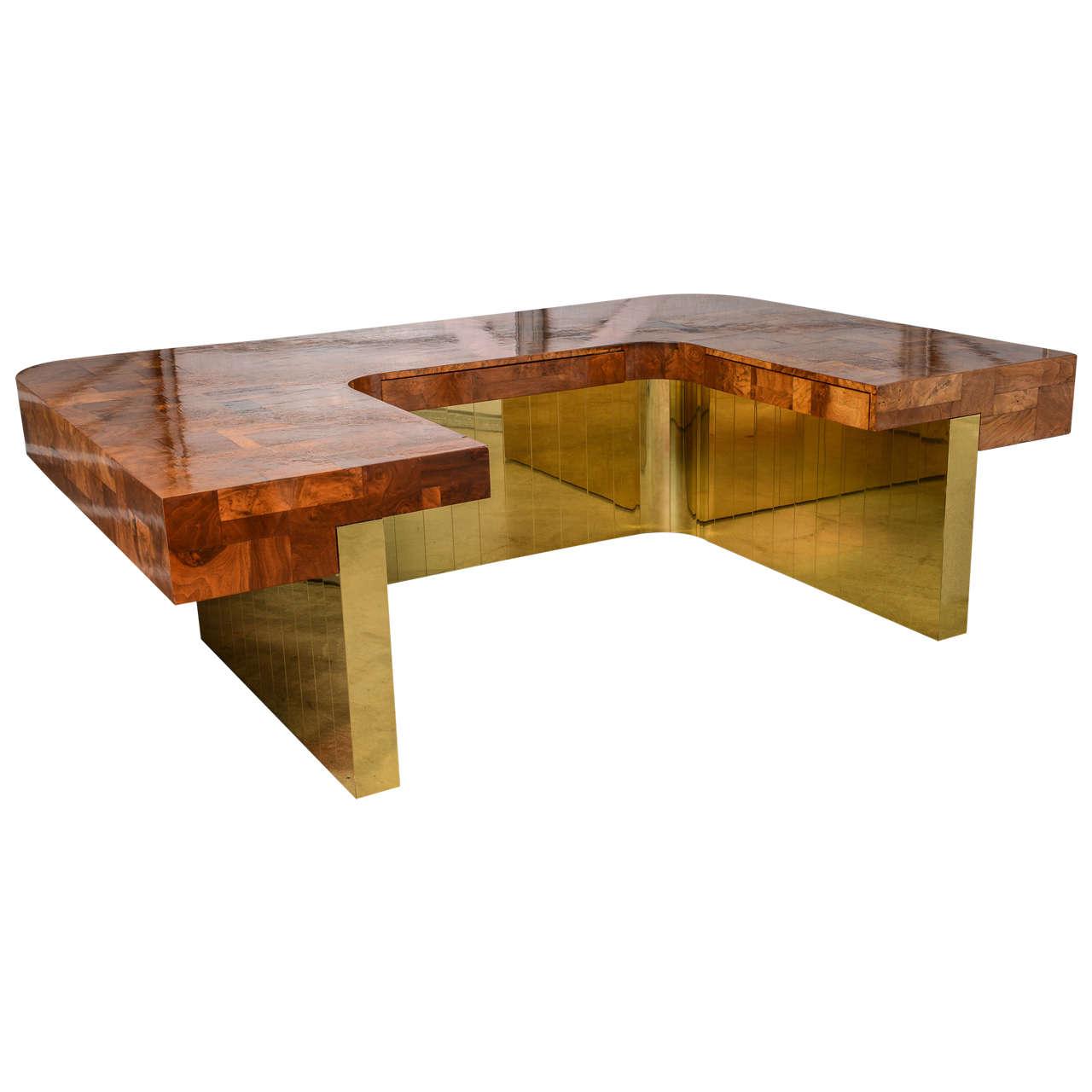 Very Rare Brass Bottom Directional Cityscape Desk by Paul Evans