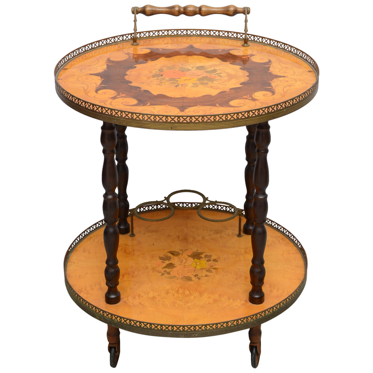 Italian Marquetry Bar Cart Or Tea Trolley By Soro 1960s For