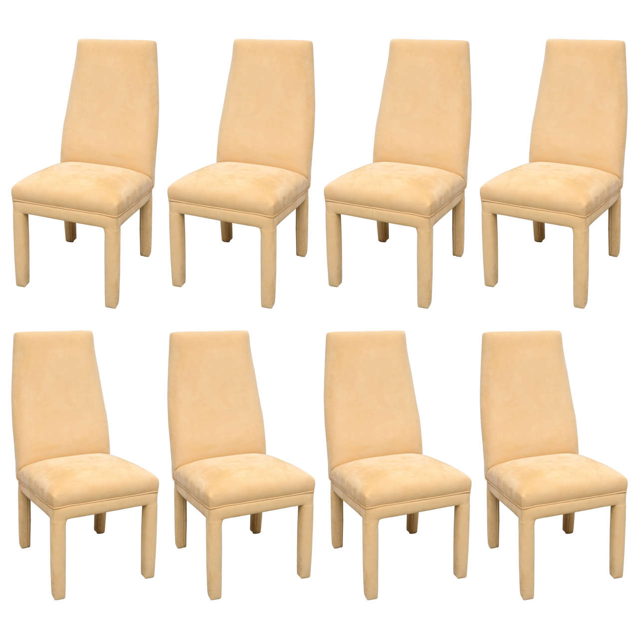 tri mark dining chairs set of eight in ultra suede usa