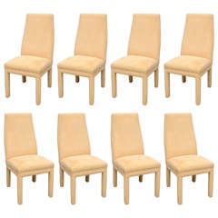 Tri Mark Dining Chairs, Set of Eight in Ultra Suede, USA, 1970s