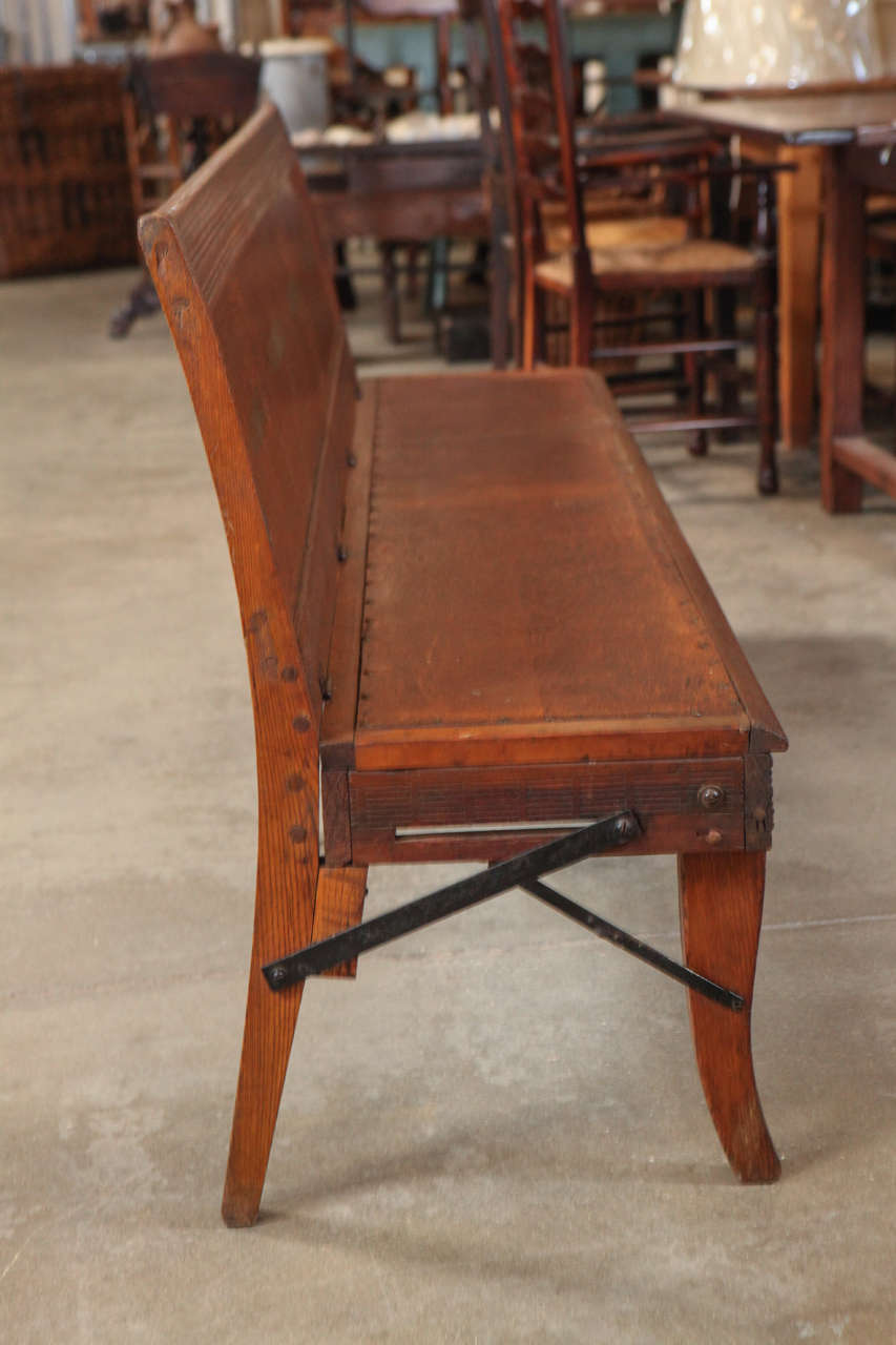 American Folding School Bench, circa 1920s For Sale 1