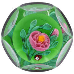 Jim Kontes Faceted Pink Rose Paperweight