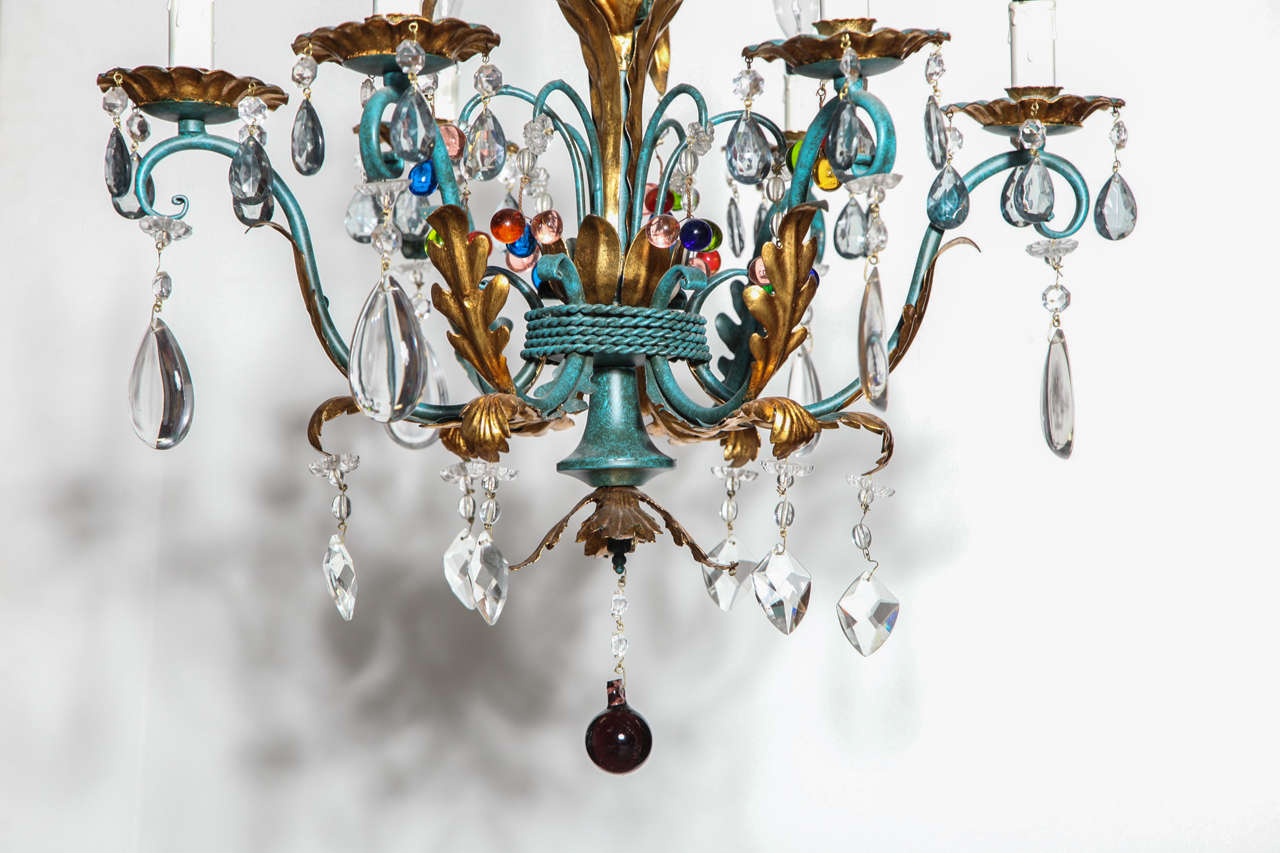 Vintage 1940s italian green and gilt chandelier with colorful vintage 1940s italian green and gilt chandelier with colorful crystals in good condition for sale in aloadofball Images