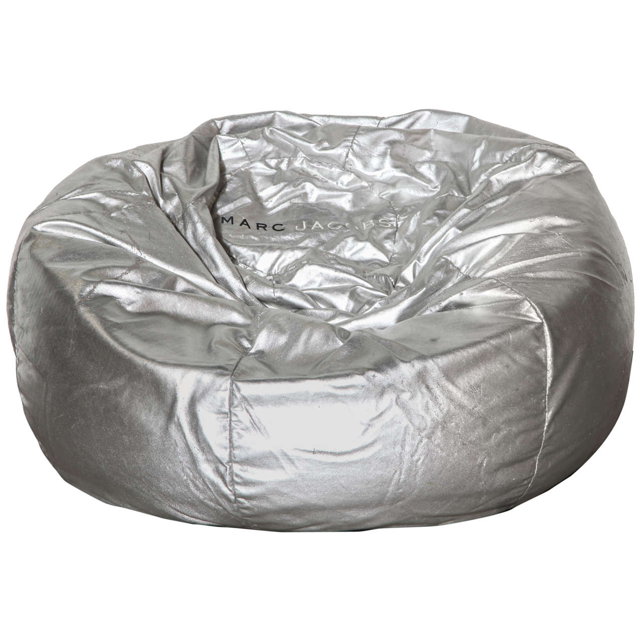 Marc Jacobs Silver Leather Bean Bag For Sale