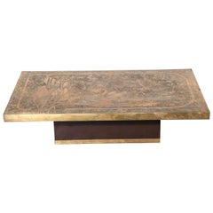 Signed 1960s French Etched Bronze Coffee Table