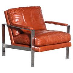 Milo Baughman Leather and Chrome Chair