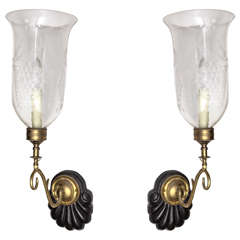 Pair of Vintage Brass and Wood Sconces with Etched Glass Hurricane Shades