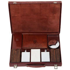 Hermès Leather Deco Travel Case with Fittings, Stamped on all Pieces