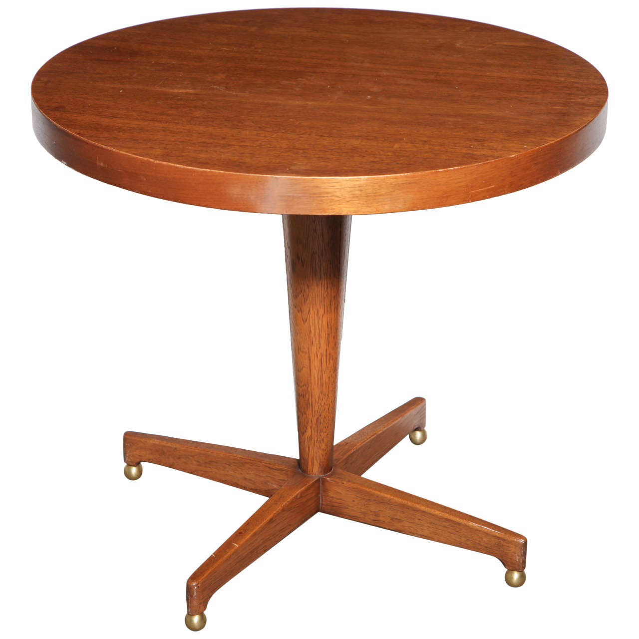 Mid century round wood side table at 1stdibs for Round wood side table