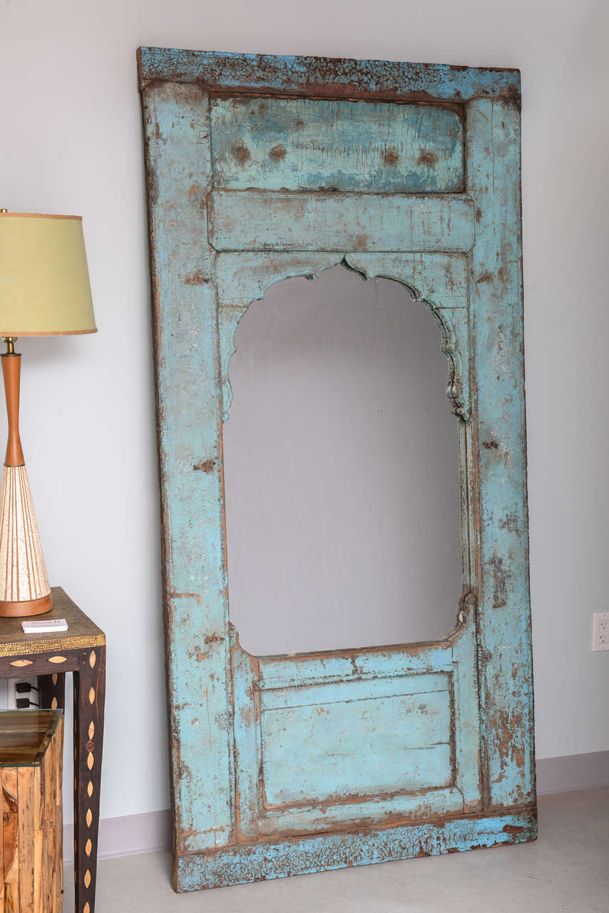 It was adopted as a mirror, distressed. In the last photo you can see door details.  can lean or hang