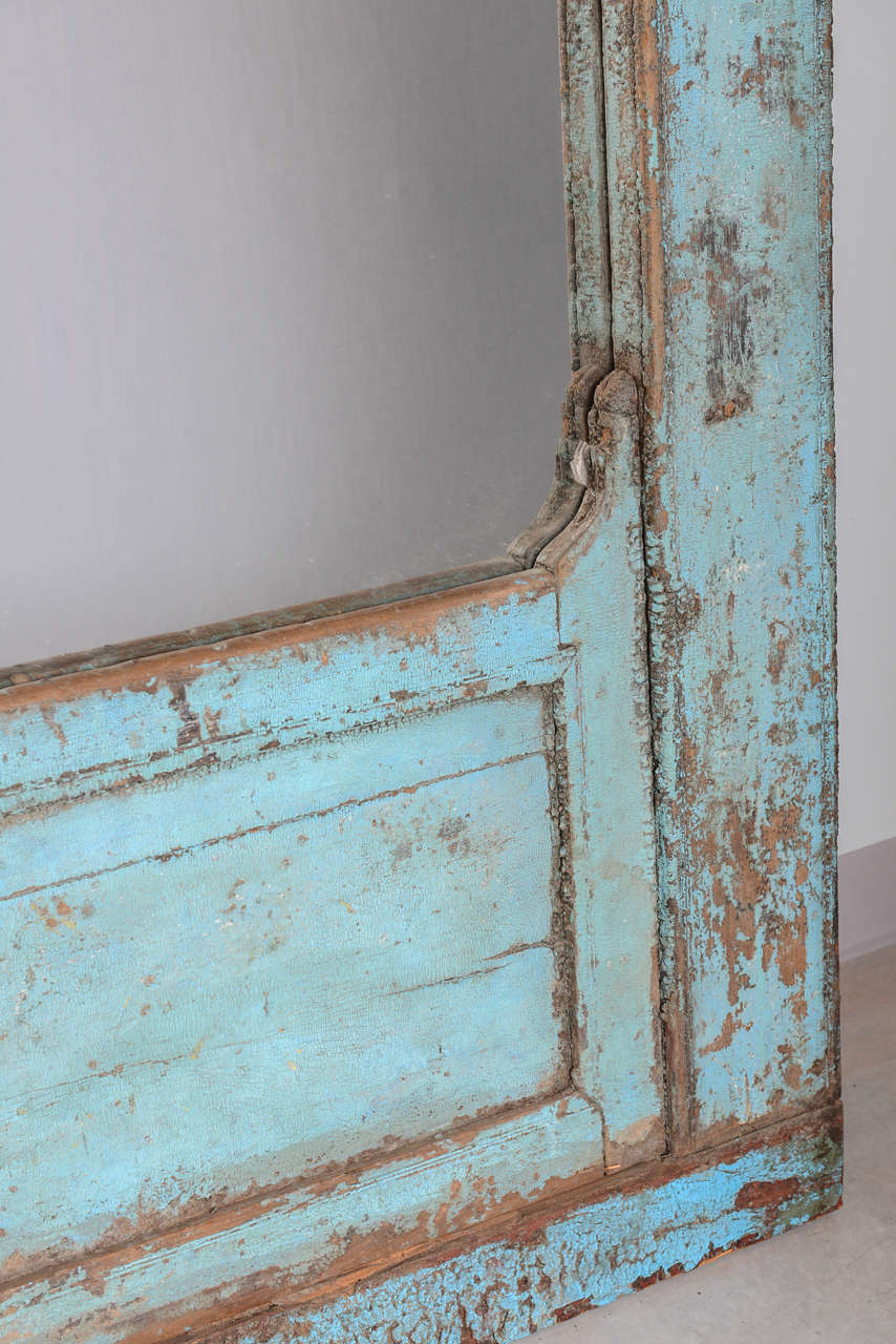 Indonesian  Antique Door turquoise,  full length   Mirror Insert, Java Enchanting,dramatic For Sale