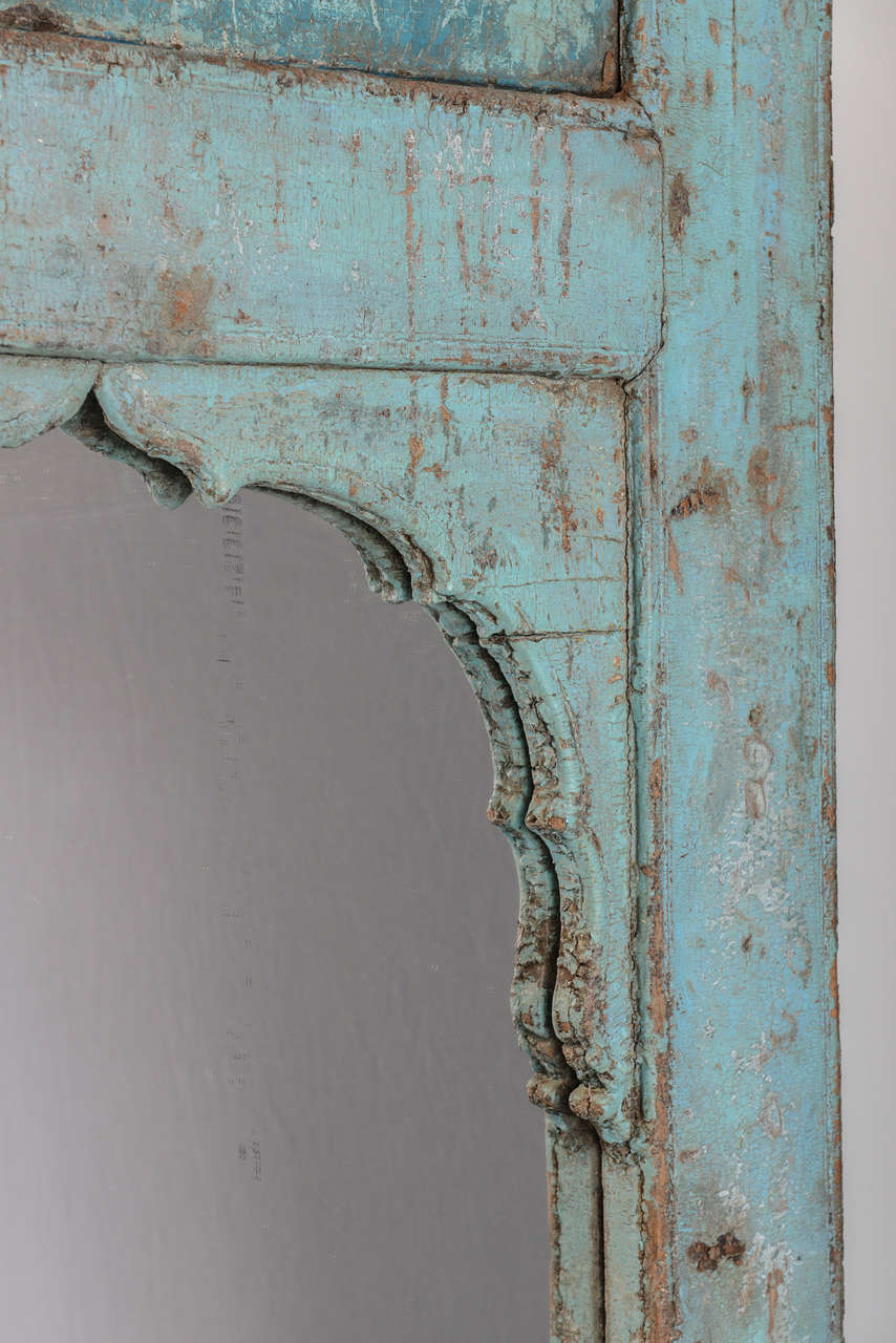 Antique Door turquoise,  full length   Mirror Insert, Java Enchanting,dramatic In Distressed Condition For Sale In Miami, Miami Design District, FL