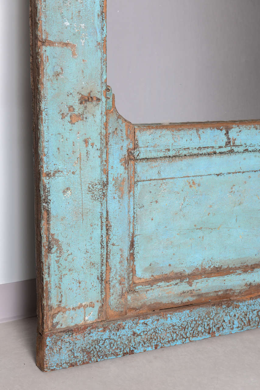 Mid-20th Century  Antique Door turquoise,  full length   Mirror Insert, Java Enchanting,dramatic For Sale