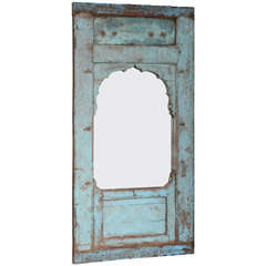Leaning Mirror, Standing, Inserted into an Antique Door, Turqoise, Java