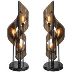 Pair of Tall Acrylic Lucite Table Lamps