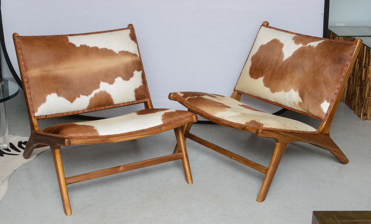 Cowhide Upholstered Teak Lounge Chair For Sale 4