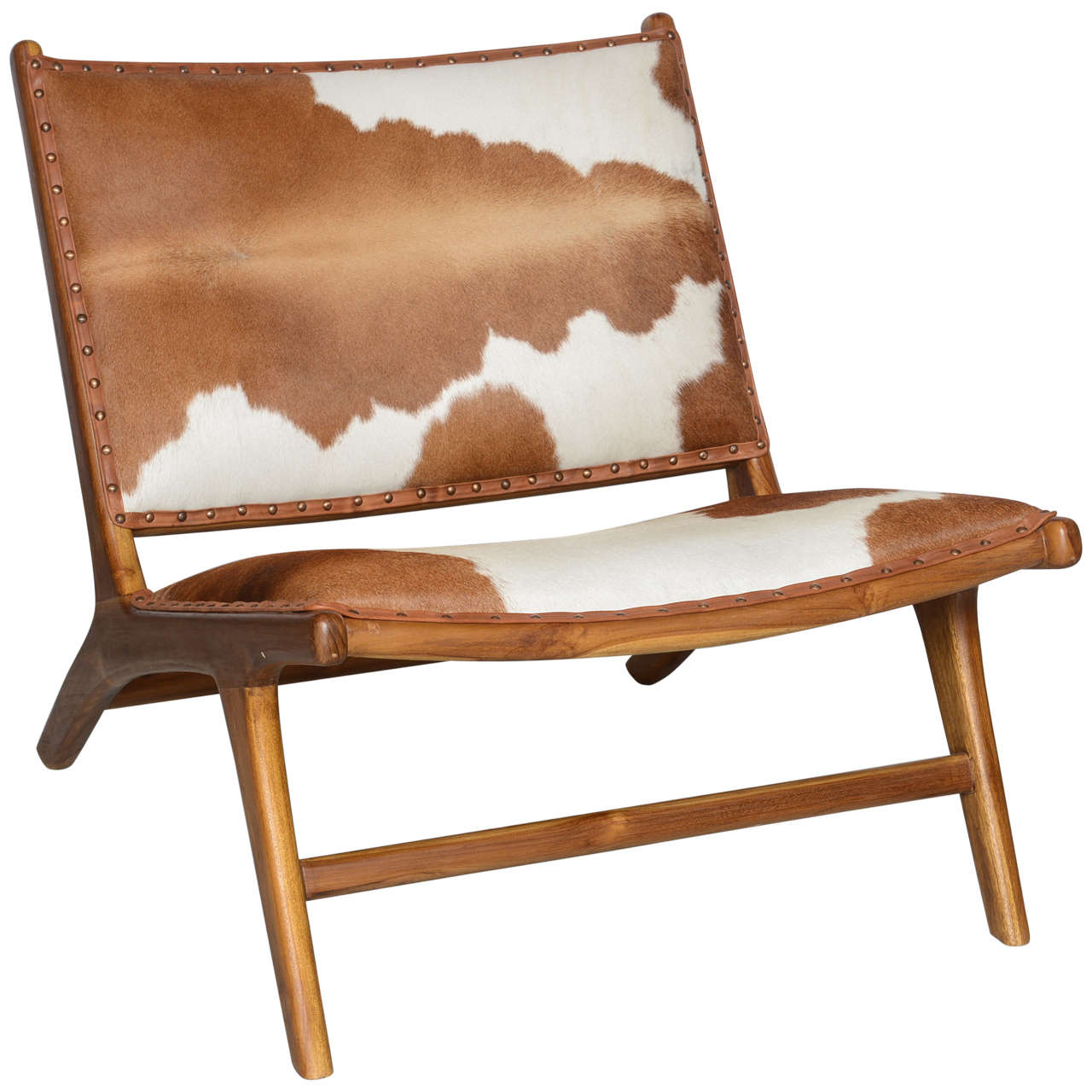 Cowhide Upholstered Teak Lounge Chair For Sale