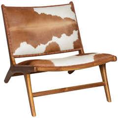 Cowhide Upholstered Teak Lounge Chair