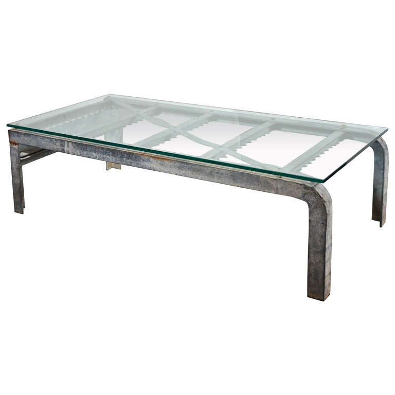 Industrial Art Glass Top Coffee Table At 1stdibs